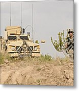 U.s. Army Sergeant Provides Security Metal Print