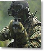 U.s. Marine During Combat Operations Metal Print