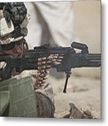 U.s. Marine Firing A Pk 7.62mm Machine Metal Print