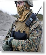 U.s. Marine Provides Security Metal Print
