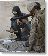 U.s. Marine Watches An Afghan Police Metal Print