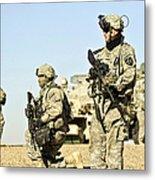U.s. Soldiers Conduct A Combat Patrol Metal Print