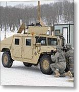 U.s. Soldiers Take Cover Metal Print