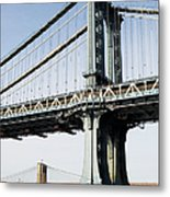 Usa, New York, New York City, Manhattan, Brooklyn Bridge Metal Print