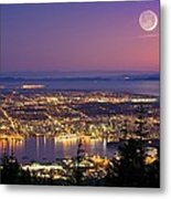 Vancouver At Night, Time-exposure Image Metal Print
