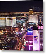Vegas Strip At Night Metal Print