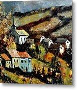 Village In Fall Metal Print