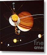 Voyager Saturn Flyby Artwork Metal Print by Science Source