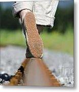 Walking On Railroad Tracks Metal Print