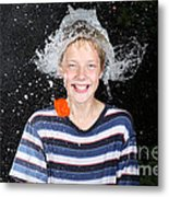 Water Balloon Popped Above Boys Head Metal Print