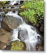 Water Cascading Over Rocks, Mount Hood Metal Print