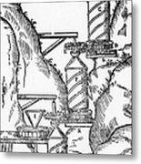 Watermill, Reversed Archimedean Screw Metal Print by Science Source