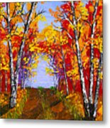 White Birch Tree Abstract Painting In Autumn Metal Print