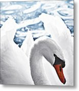 White Swan On Water Metal Print