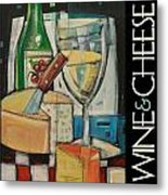 White Wine And Cheese Poster Metal Print