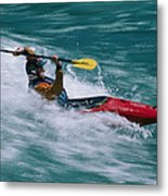 Whitewater Kayaker Surfing A Standing Metal Print