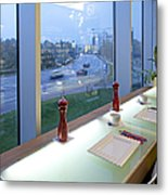 Window Seating In An Upscale Cafe Metal Print by Jaak Nilson