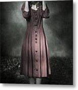 Woman And Teddy Metal Print