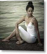 Woman At A Lake Metal Print