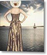 Woman At The Lake Metal Print