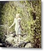 Woman In A Forest Metal Print