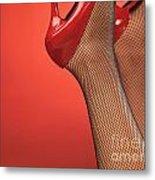 Woman In Red High Heel Shoes Metal Print