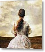 Woman On A Meadow Metal Print
