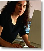 Woman Using A Personal Computer (pc) At Home Metal Print
