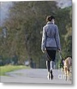 Woman Walking With Her Dogs Metal Print