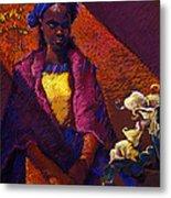 Woman With Calla Lilies Metal Print by Ellen Dreibelbis