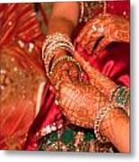 Women With Decorated Hands Holding Hands In A Hindu Religious Ceremony Metal Print
