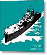 World War Two Battleship Warship Cruiser Retro Metal Print