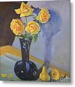 Yellow Roses And Pears Metal Print