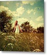 Young Girl Walking In Field Of Flowers Metal Print