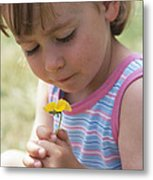 Young Girl With A Flower Metal Print