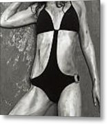 Young Woman With Rope Bondage Standing At A Window Metal Print