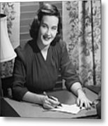 Young Woman Writing Letter At Desk, (b&w) Metal Print