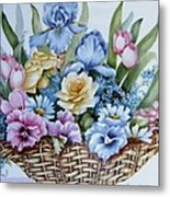 1119 B Flower Basket Metal Print