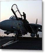An F-14d Tomcat On The Flight Deck Metal Print