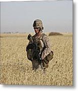 U.s. Marine Patrols A Wadi Near Kunduz Metal Print