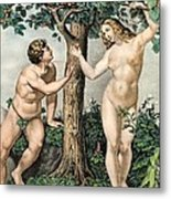 1863 Adam And Eve From Zoology Textbook Metal Print