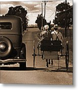 1934 Chevy And Today's Horse And Buggy By Randall Branham Metal Print