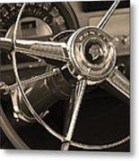 1953 Pontiac Steering Wheel - Sepia Metal Print