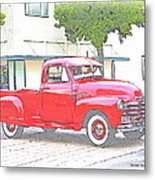 1953 Red Chevy Pickup Truck Metal Print