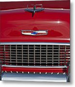 1955 Chevrolet 210 Hood Ornament And Grille Metal Print