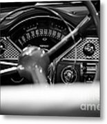 1955 Chevy Bel Air Dashboard In Black And White Metal Print by Sebastian Musial
