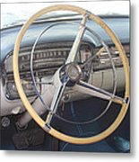 1956 Cadillac Steering Wheel And Dash Metal Print