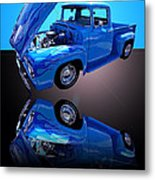 1956 Ford Blue Pick-up Metal Print by Jim Carrell