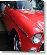 1956 Red And White Chevy Metal Print