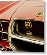 1957 Dual Ghia Convertible Coupe Grille And Hood Emblem Metal Print